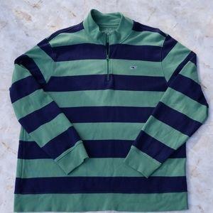 Vineyard Vines Men's Striped Long Sleeve Zip Polo